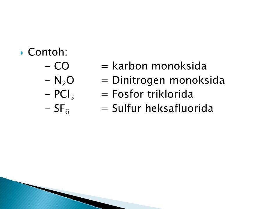 Contoh: - CO = karbon monoksida. - N2O = Dinitrogen monoksida.