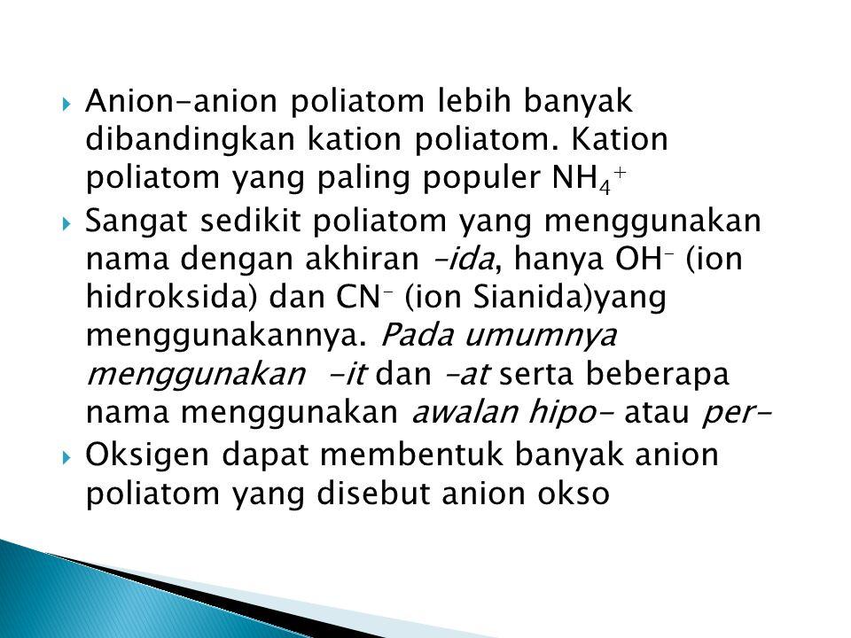 Anion-anion poliatom lebih banyak dibandingkan kation poliatom