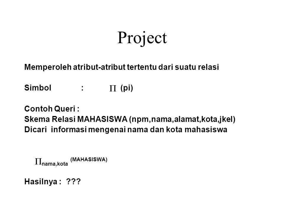 Project Memperoleh atribut-atribut tertentu dari suatu relasi