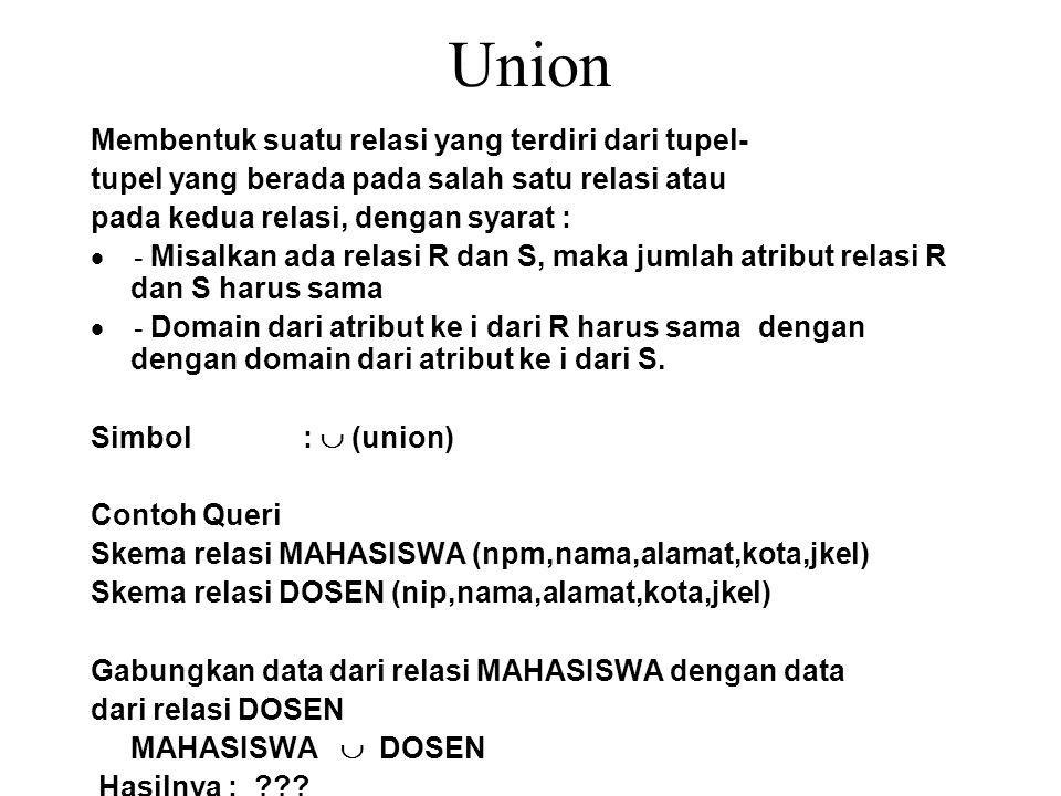 Union Membentuk suatu relasi yang terdiri dari tupel-