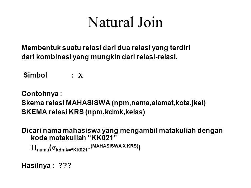 Natural Join Membentuk suatu relasi dari dua relasi yang terdiri