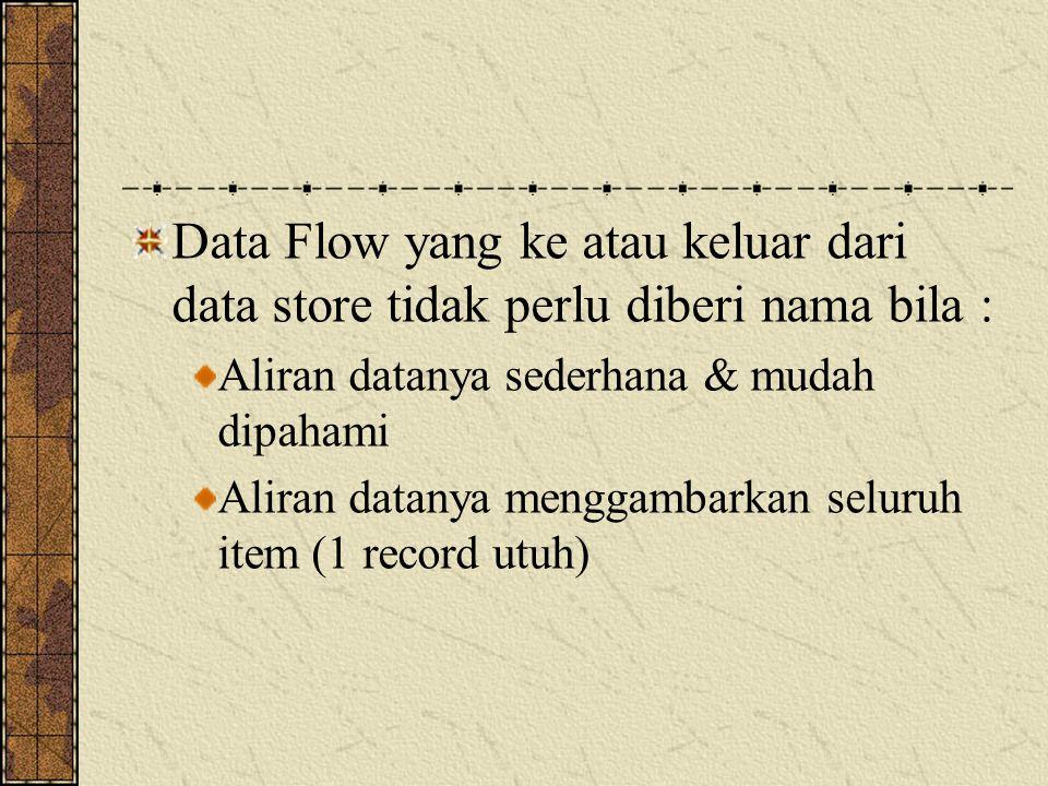 Data Flow yang ke atau keluar dari data store tidak perlu diberi nama bila :
