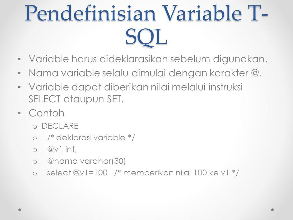 Pendefinisian Variable T-SQL