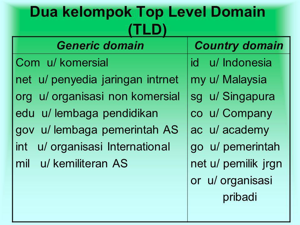 Dua kelompok Top Level Domain (TLD)
