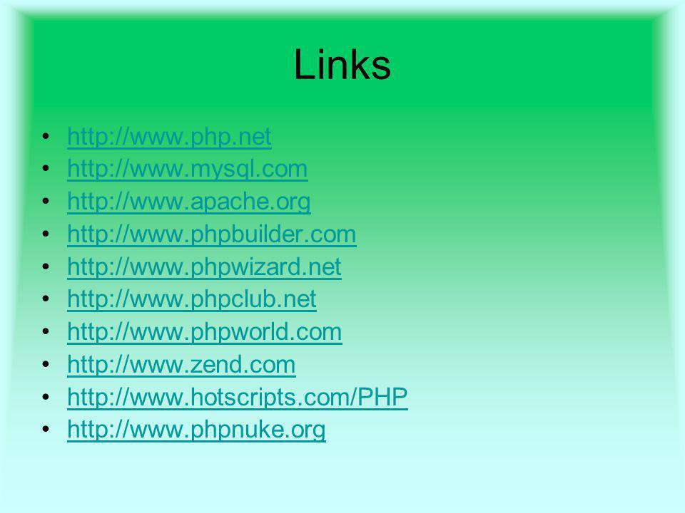 Links http://www.php.net http://www.mysql.com http://www.apache.org