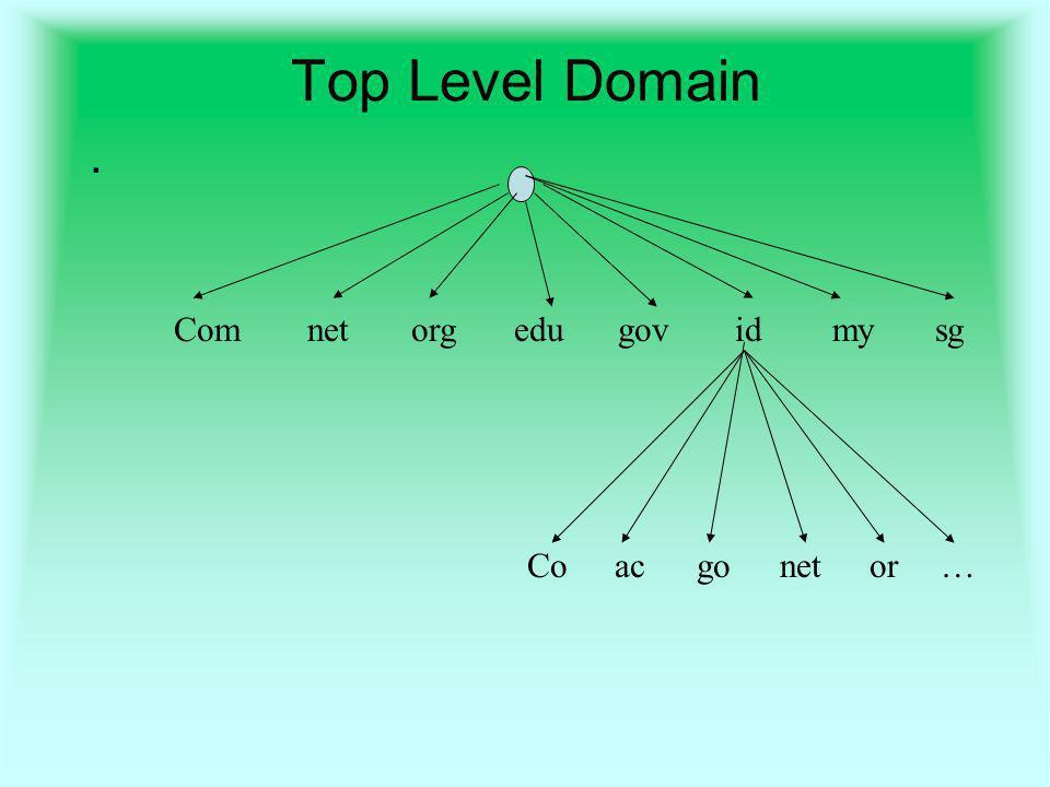 Top Level Domain . Com net org edu gov id my sg Co ac go net or …