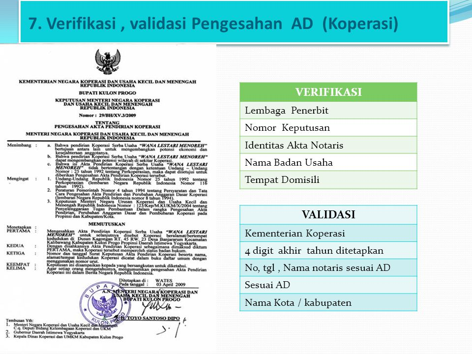 7. Verifikasi , validasi Pengesahan AD (Koperasi)