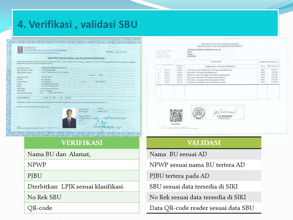 4. Verifikasi , validasi SBU