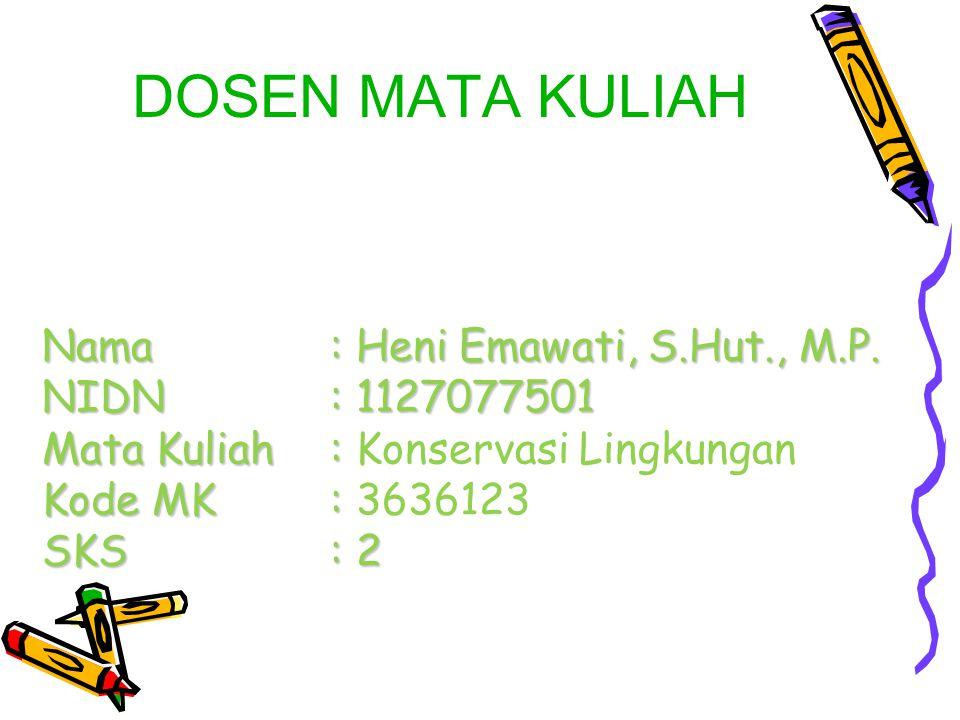Nama. : Heni Emawati, S. Hut. , M. P. NIDN. : 1127077501 Mata Kuliah