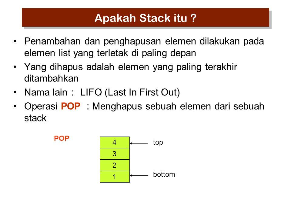 Apakah Stack itu Penambahan dan penghapusan elemen dilakukan pada elemen list yang terletak di paling depan.