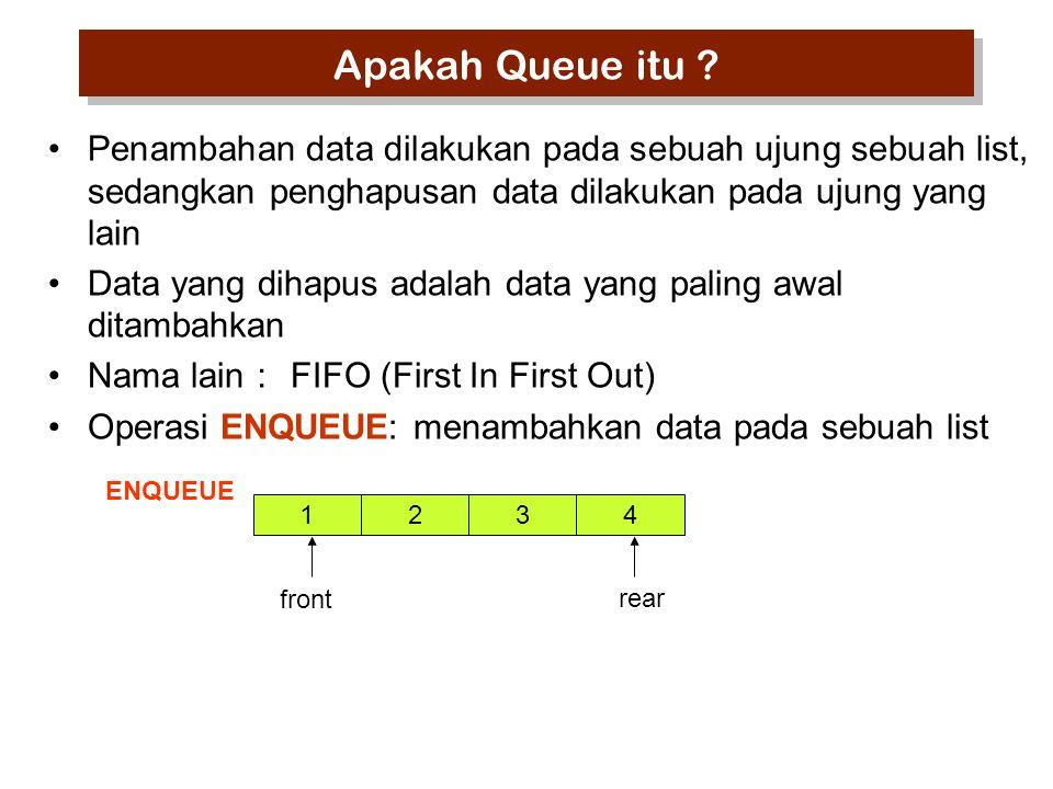 Apakah Queue itu Penambahan data dilakukan pada sebuah ujung sebuah list, sedangkan penghapusan data dilakukan pada ujung yang lain.