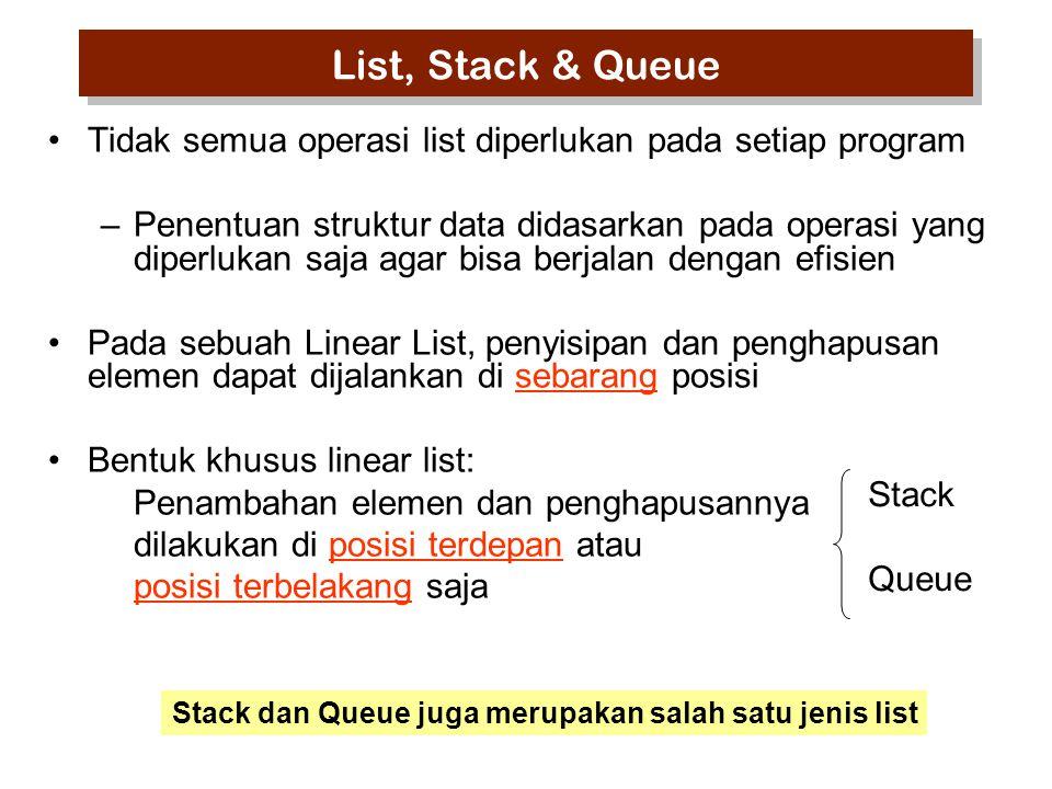 List, Stack & Queue Tidak semua operasi list diperlukan pada setiap program.