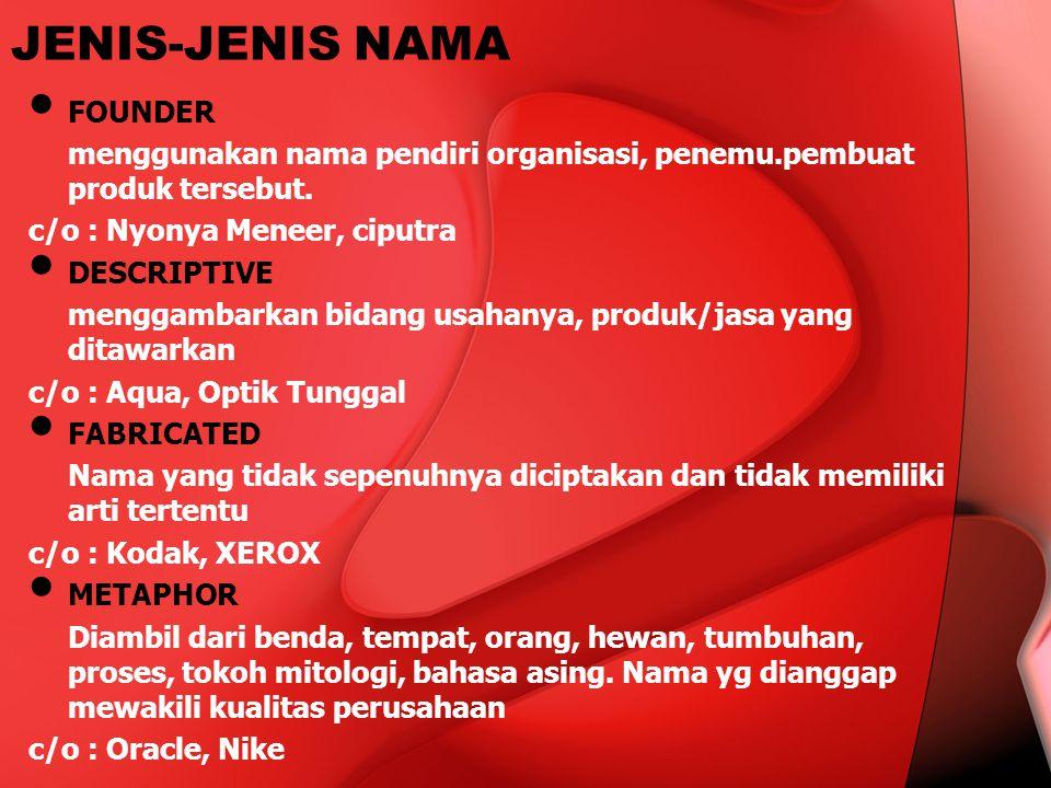 JENIS-JENIS NAMA FOUNDER