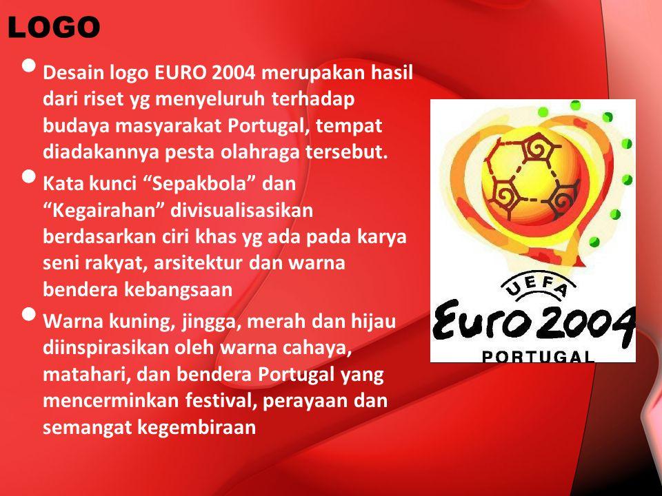 LOGO Desain logo EURO 2004 merupakan hasil dari riset yg menyeluruh terhadap budaya masyarakat Portugal, tempat diadakannya pesta olahraga tersebut.