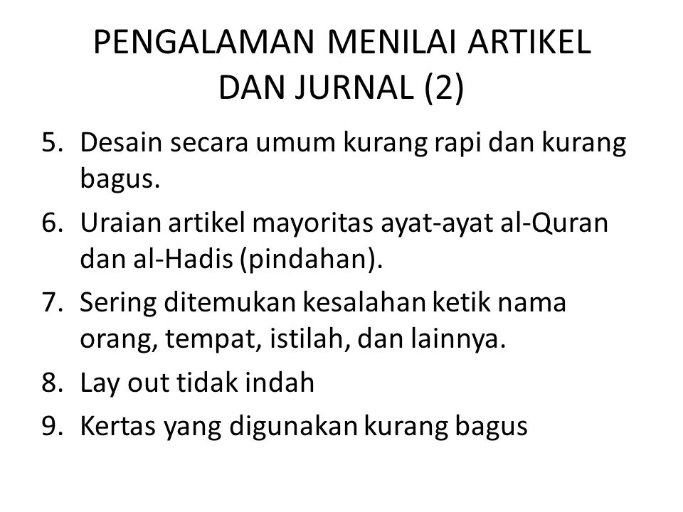 PENGALAMAN MENILAI ARTIKEL DAN JURNAL (2)