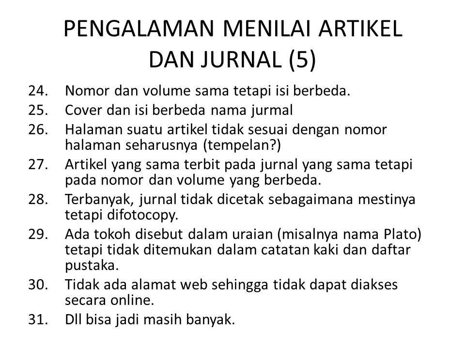 PENGALAMAN MENILAI ARTIKEL DAN JURNAL (5)