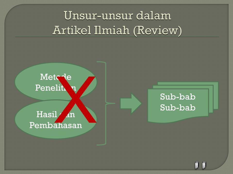 Unsur-unsur dalam Artikel Ilmiah (Review)