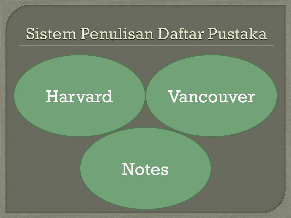Sistem Penulisan Daftar Pustaka