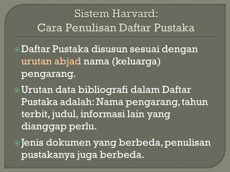 Sistem Harvard: Cara Penulisan Daftar Pustaka