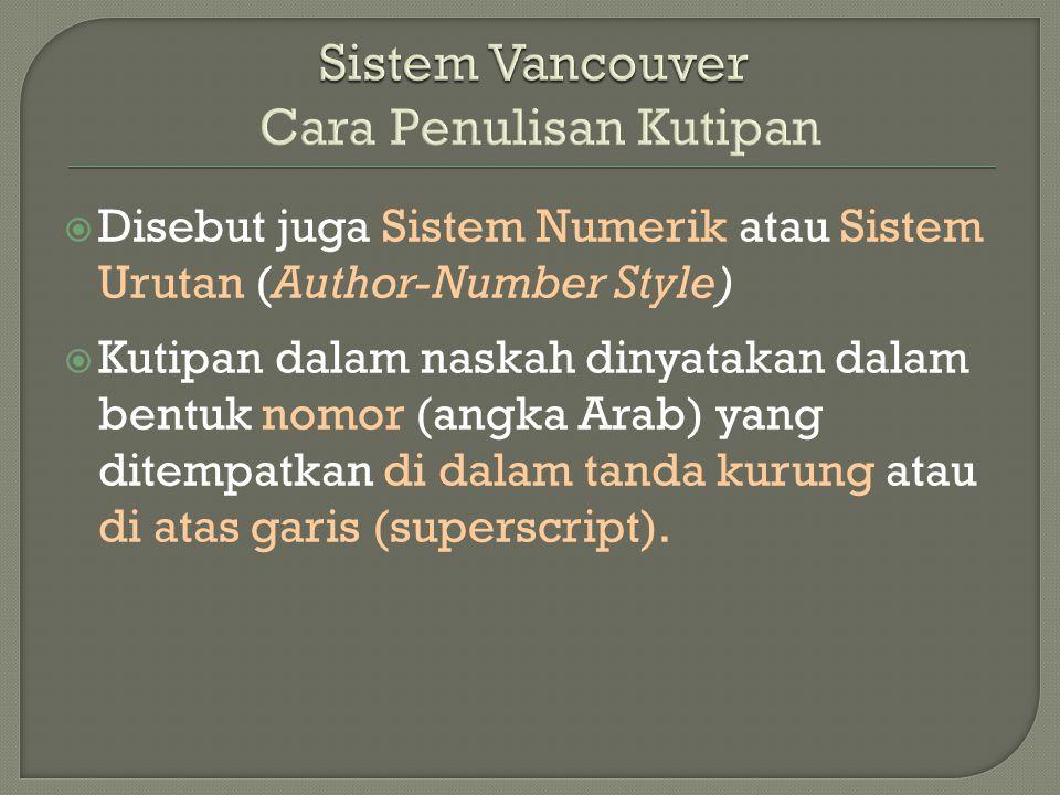 Sistem Vancouver Cara Penulisan Kutipan