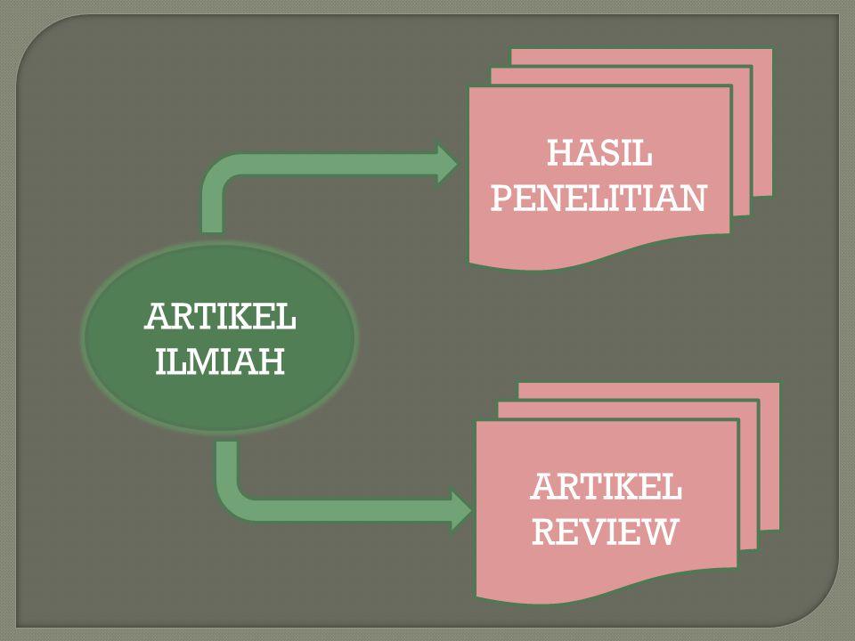 HASIL PENELITIAN ARTIKEL ILMIAH ARTIKEL REVIEW