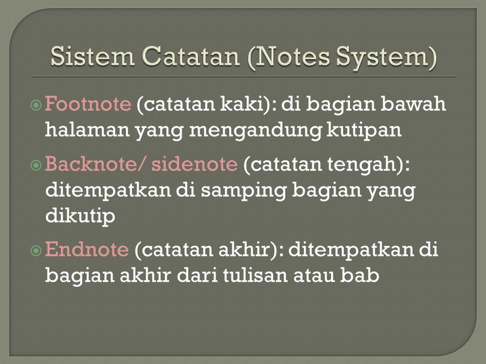 Sistem Catatan (Notes System)