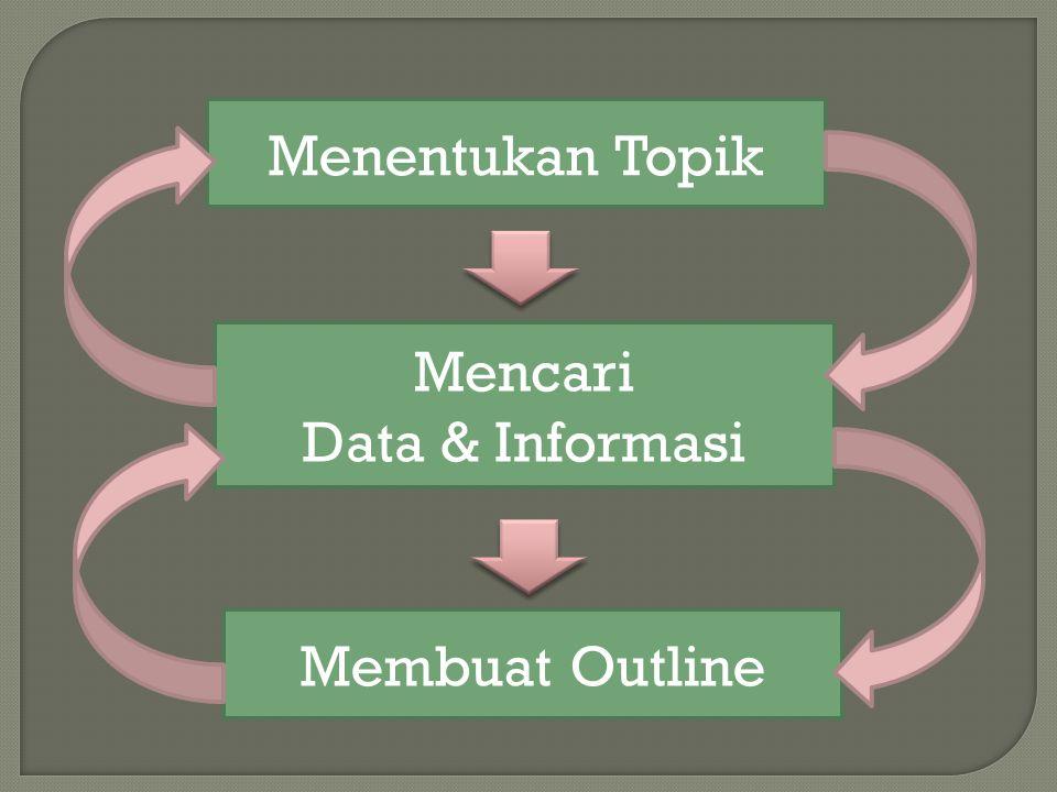 Menentukan Topik Mencari Data & Informasi Membuat Outline