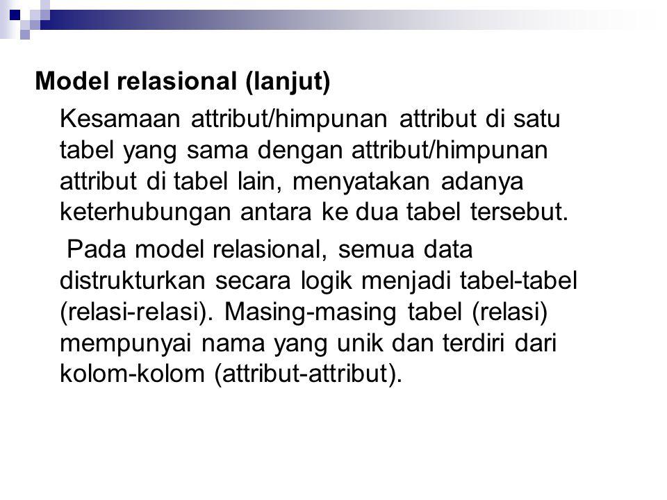 Model relasional (lanjut)