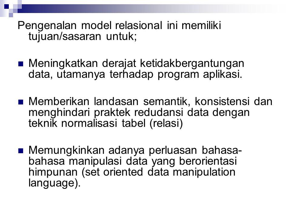 Pengenalan model relasional ini memiliki tujuan/sasaran untuk;