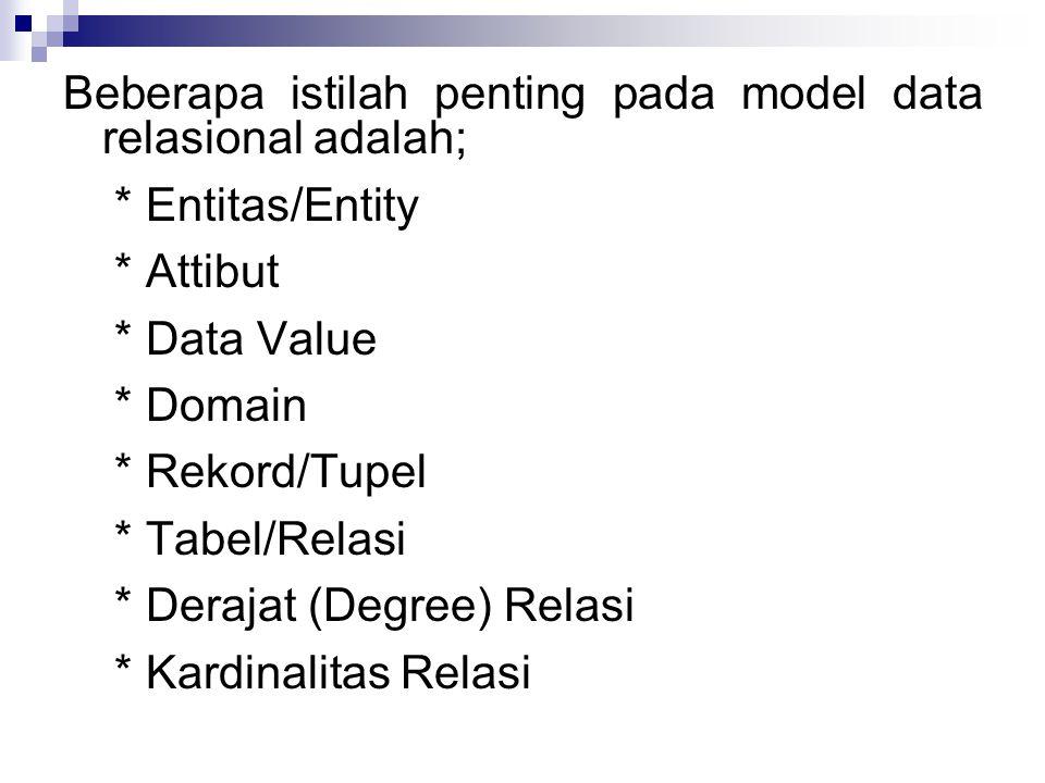 Beberapa istilah penting pada model data relasional adalah;