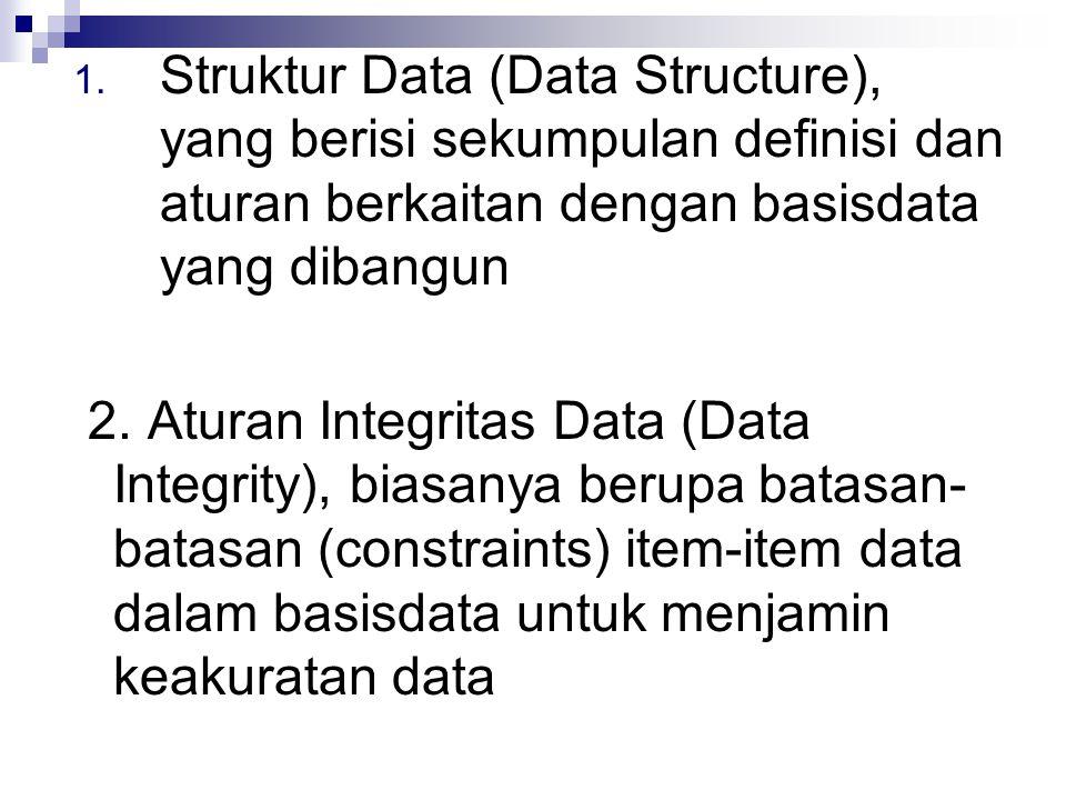 Struktur Data (Data Structure), yang berisi sekumpulan definisi dan aturan berkaitan dengan basisdata yang dibangun