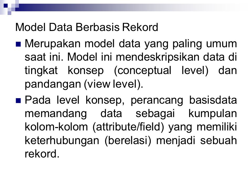 Model Data Berbasis Rekord