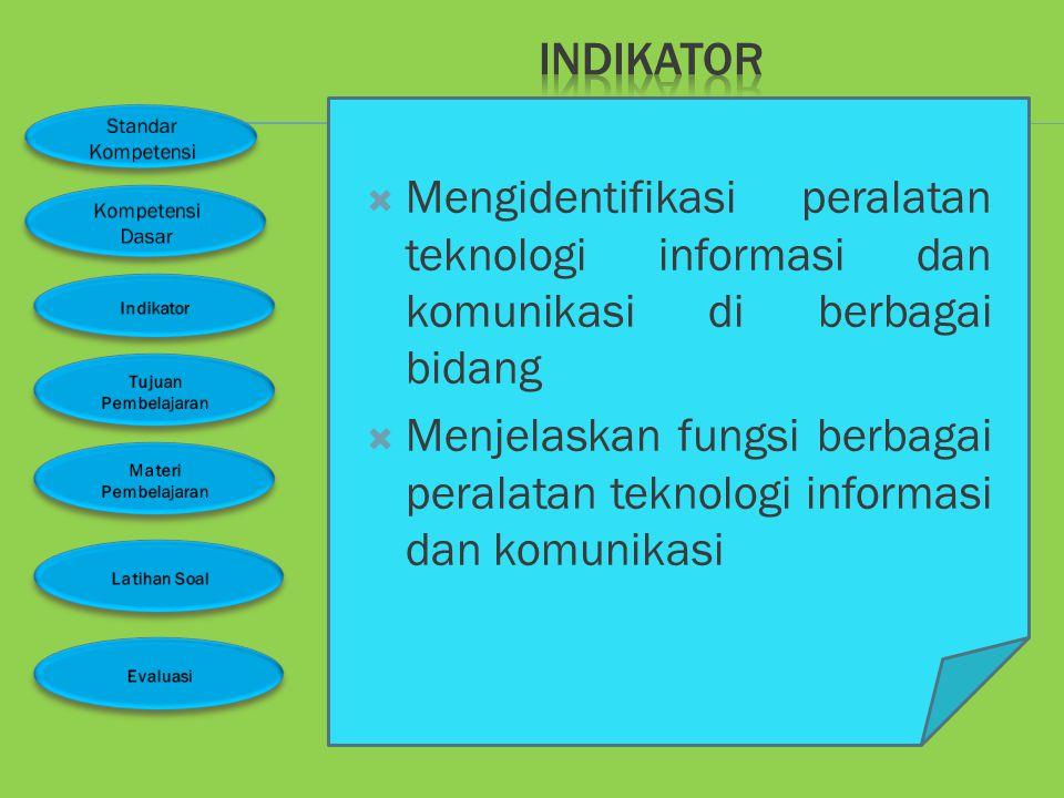 INDIKATOR Mengidentifikasi peralatan teknologi informasi dan komunikasi di berbagai bidang.