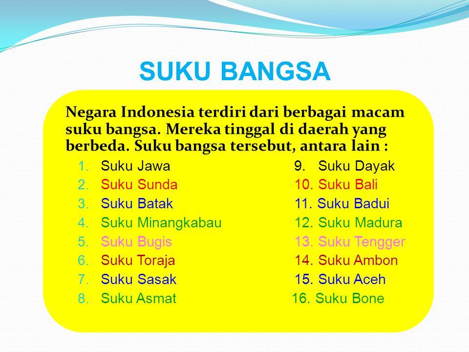 SUKU BANGSA Negara Indonesia terdiri dari berbagai macam suku bangsa. Mereka tinggal di daerah yang berbeda. Suku bangsa tersebut, antara lain :