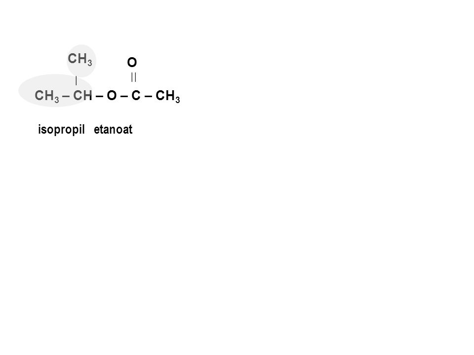 CH3 O | | | CH3 – CH – O – C – CH3 isopropil etanoat