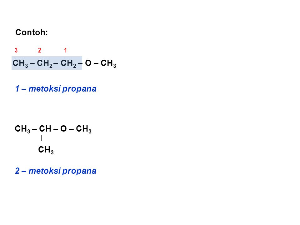Contoh: CH3 – CH2 – CH2 – O – CH3 1 – metoksi propana