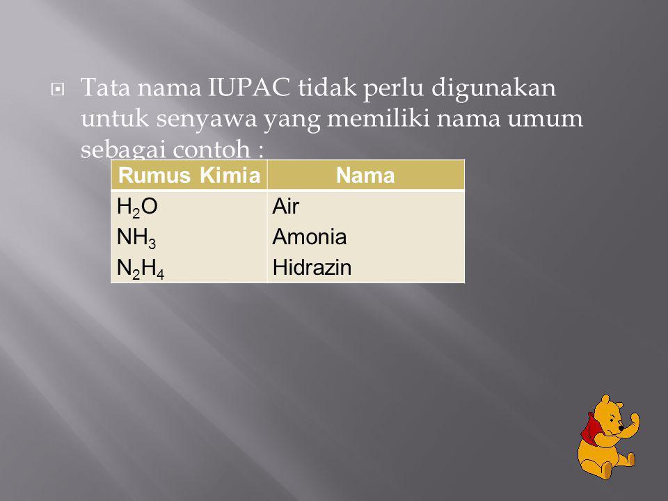 Tata nama IUPAC tidak perlu digunakan untuk senyawa yang memiliki nama umum sebagai contoh :