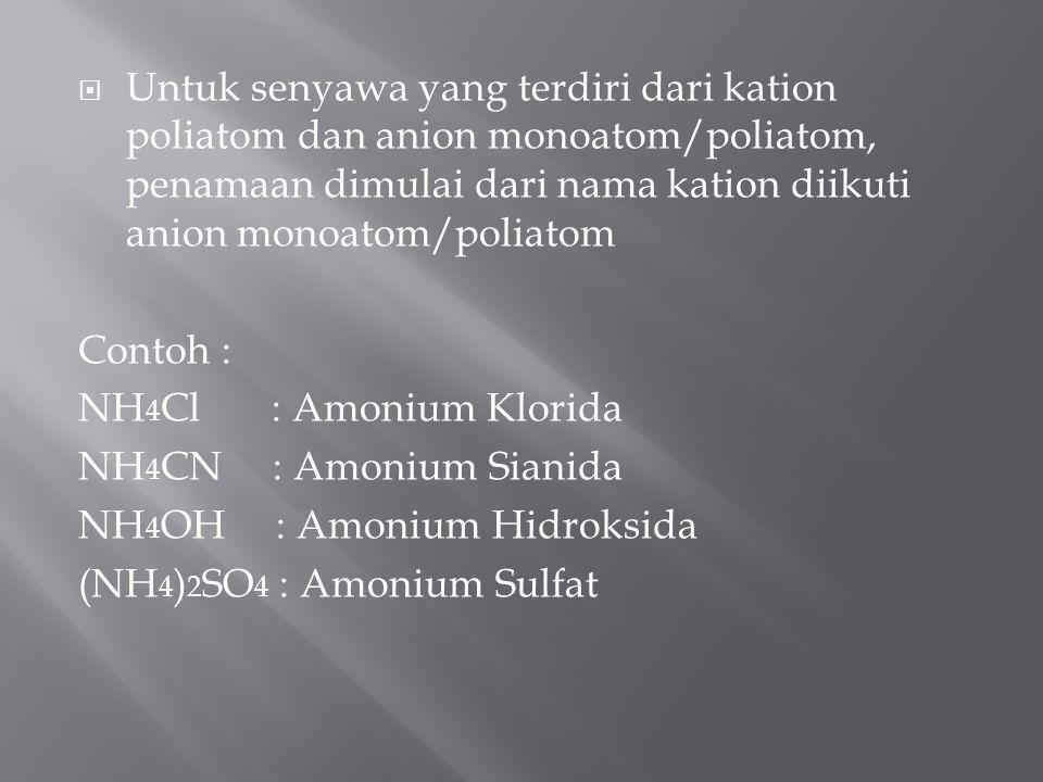Untuk senyawa yang terdiri dari kation poliatom dan anion monoatom/poliatom, penamaan dimulai dari nama kation diikuti anion monoatom/poliatom