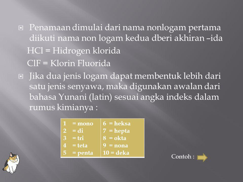 Penamaan dimulai dari nama nonlogam pertama diikuti nama non logam kedua dberi akhiran –ida