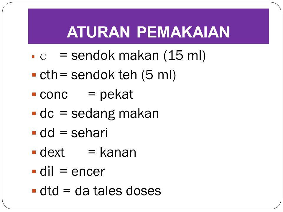 ATURAN PEMAKAIAN cth = sendok teh (5 ml) conc = pekat