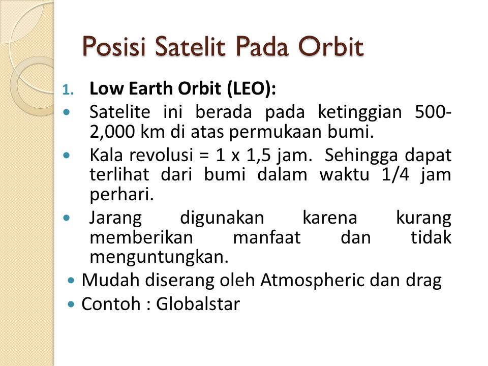 Posisi Satelit Pada Orbit