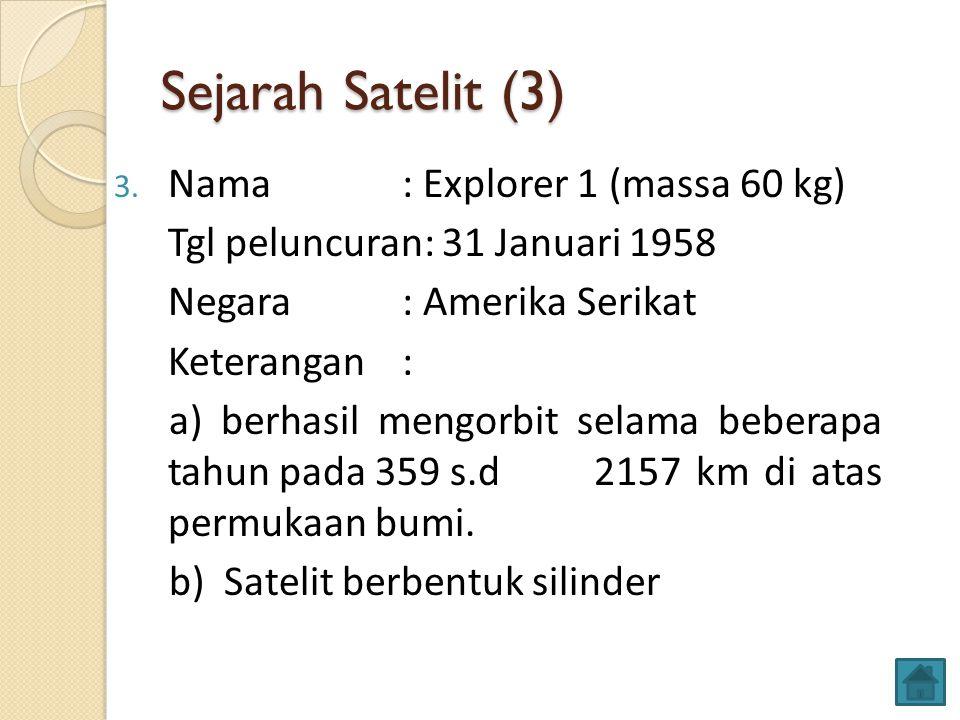 Sejarah Satelit (3) Nama : Explorer 1 (massa 60 kg)