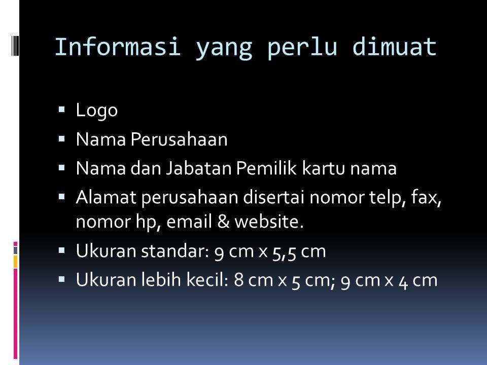 Informasi yang perlu dimuat