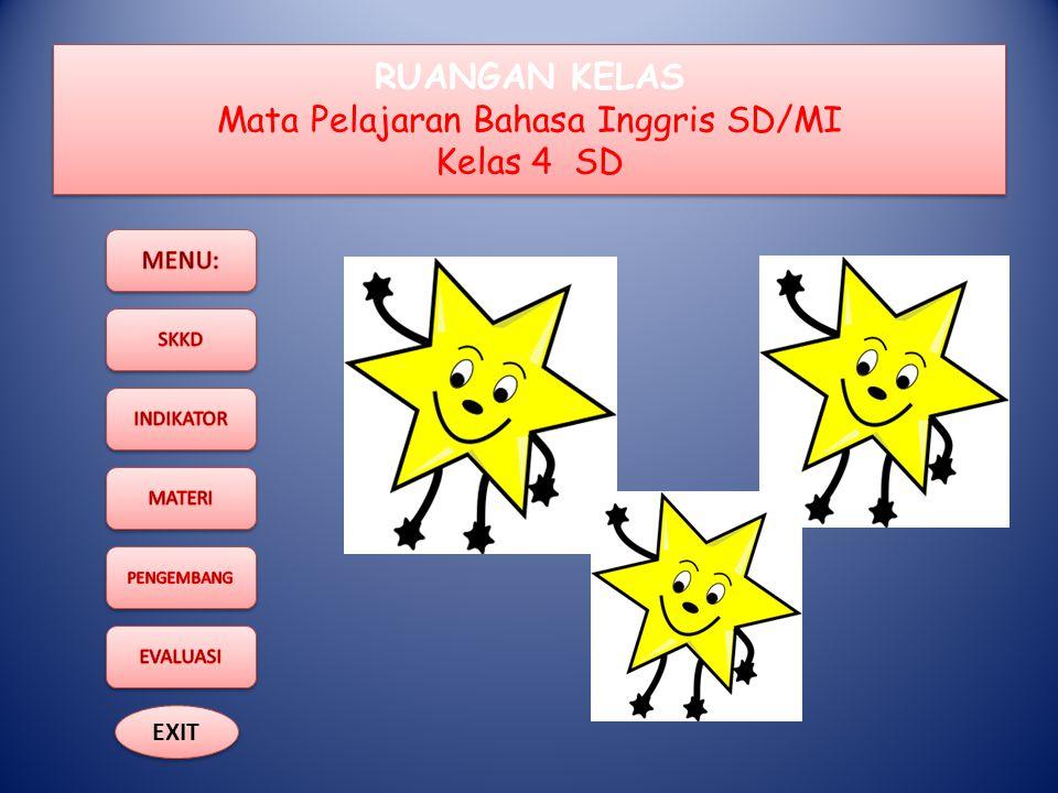 RUANGAN KELAS Mata Pelajaran Bahasa Inggris SD/MI Kelas 4 SD