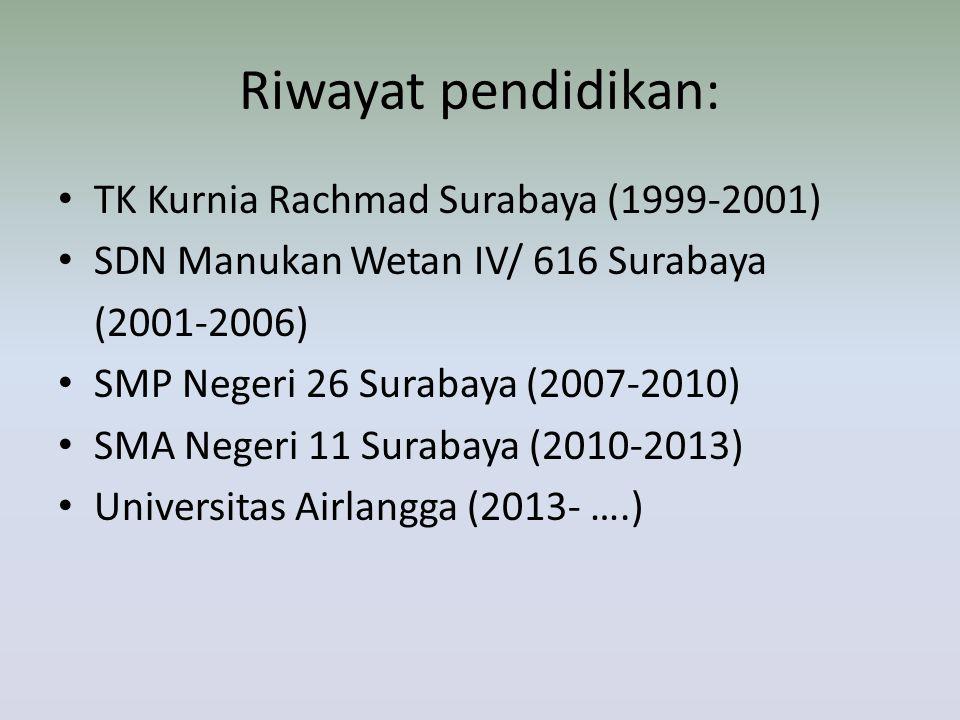 Riwayat pendidikan: TK Kurnia Rachmad Surabaya (1999-2001)