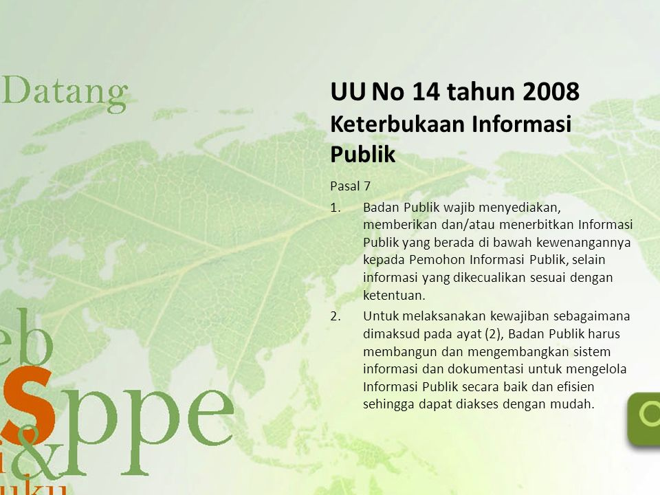 UU No 14 tahun 2008 Keterbukaan Informasi Publik
