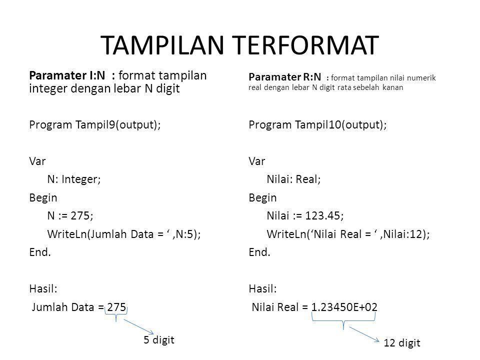 TAMPILAN TERFORMAT Paramater R:N : format tampilan nilai numerik real dengan lebar N digit rata sebelah kanan.
