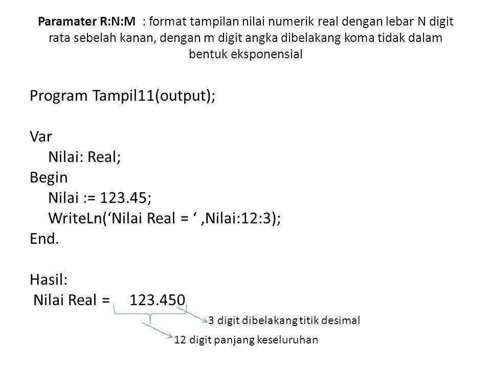 Paramater R:N:M : format tampilan nilai numerik real dengan lebar N digit rata sebelah kanan, dengan m digit angka dibelakang koma tidak dalam bentuk eksponensial