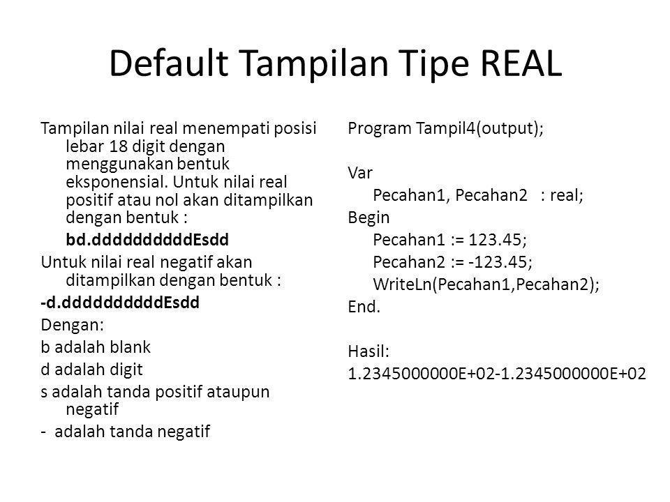 Default Tampilan Tipe REAL