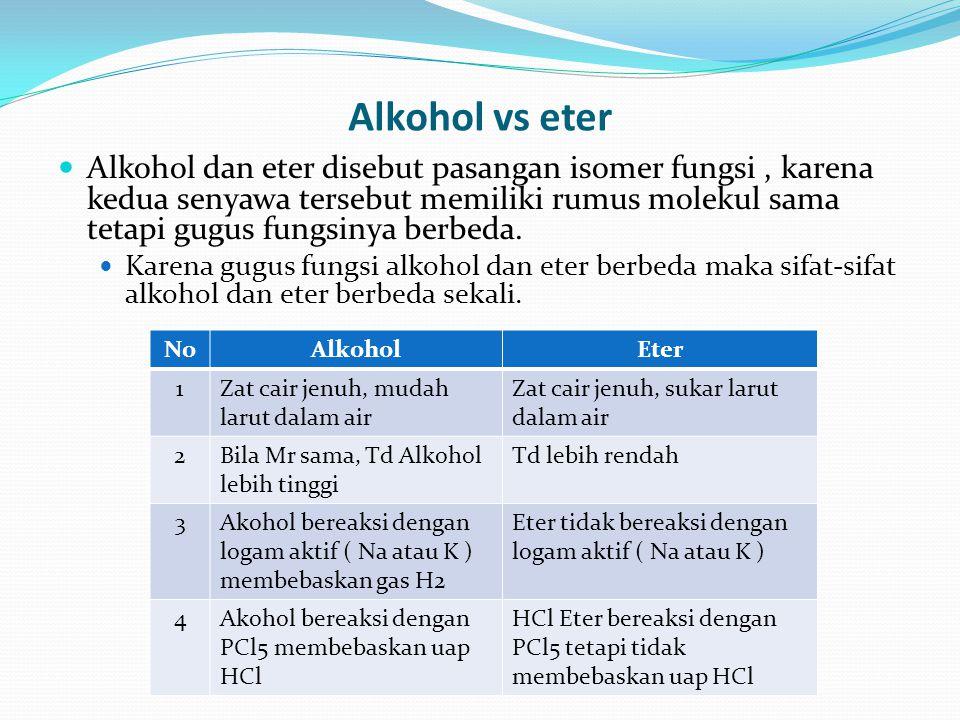 Alkohol vs eter